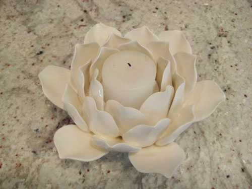 Artichoke flower candle holder ceramic