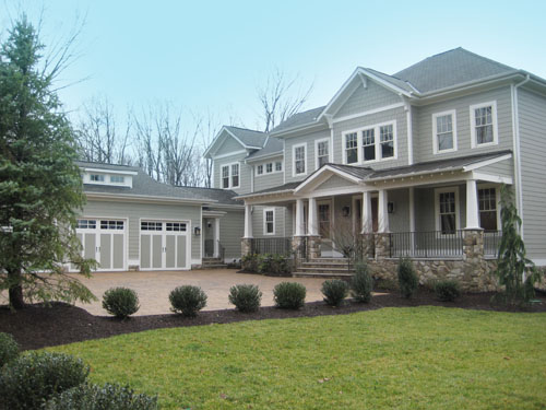 Craftsman style exterior with batten board shutters brick stone tapered columns and - Craftsman home exterior ...