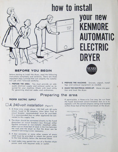 Old Sear Roebuck and Company Kenmore Dryer Manual