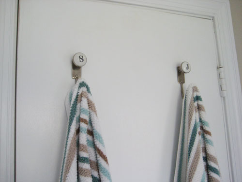 Anthropologie initial monogram towel hooks
