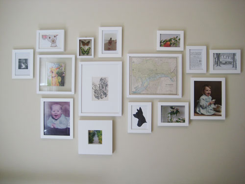 White wall of frames