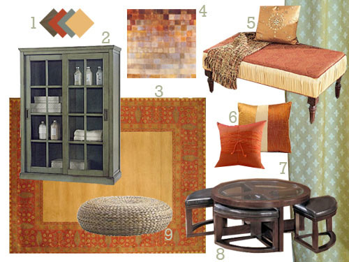 This spicy exotic living room makeover is full of amber sage burn orange and gold - Brown and orange living room ...