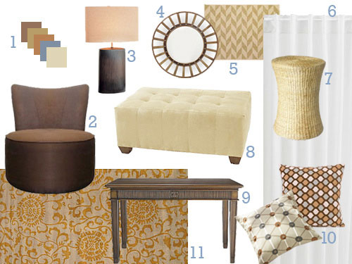 Warm And Cozy Dining Room Moodboard: This Brown, Blue, Orange, And Cream Mood Board Makeover