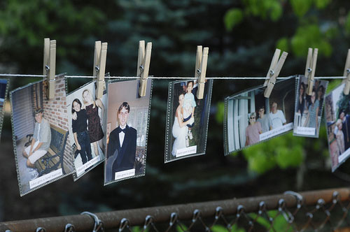 Diy Backyard Wedding Ideas best 20 cheap backyard wedding ideas on pinterest cheap wedding food backyard parties and backyard party decorations Bride And Groom Timeline Of Old Photos Hung On Clothespin At Backyard Wedding