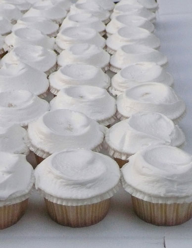 rows of white Ukrop's cupcakes at diy backyard garden wedding