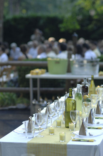 tablesetting for affordable backyard wedding using table runner, wine bottles, and candles