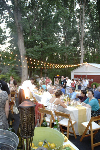Affordable Backyard Wedding Reception In Driveway With Ed Tables Cafe Lights Strung Above And