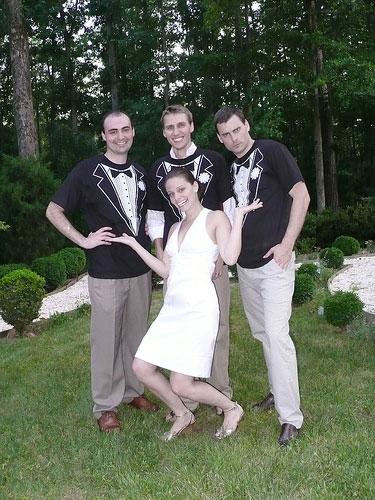 Fun Backyard Wedding Photo With Groom And His Friends Wearing Tuxedo Tshirts